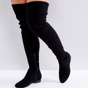 NWB Asos Kasba Wide Leg, Flat, Over-the-Knee Boots
